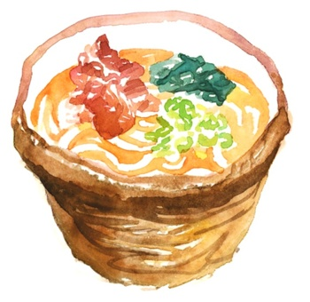 Watercolor style udon