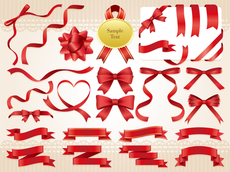 Red ribbon ornament set