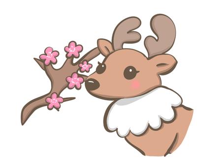 벚꽃 나무와 사슴