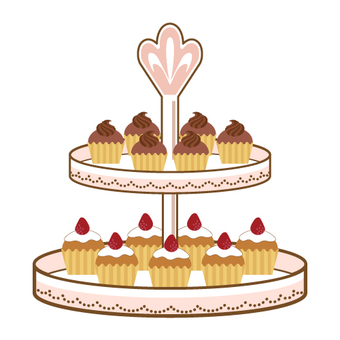 Cake stand and cupcake