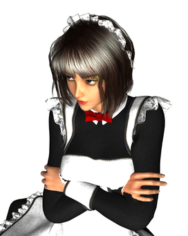 Maid maiden with arms folded