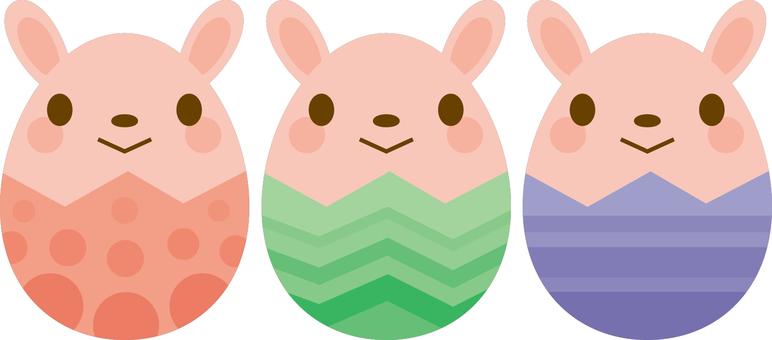 부활절 달걀 3 색 토끼