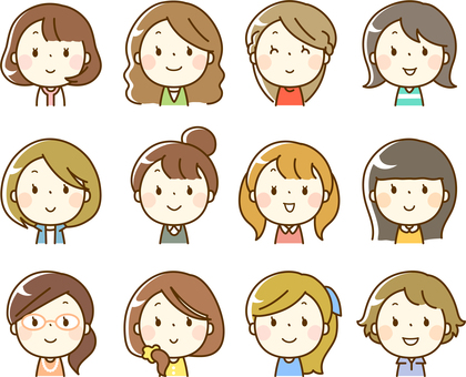 Various female face icons (upper body)