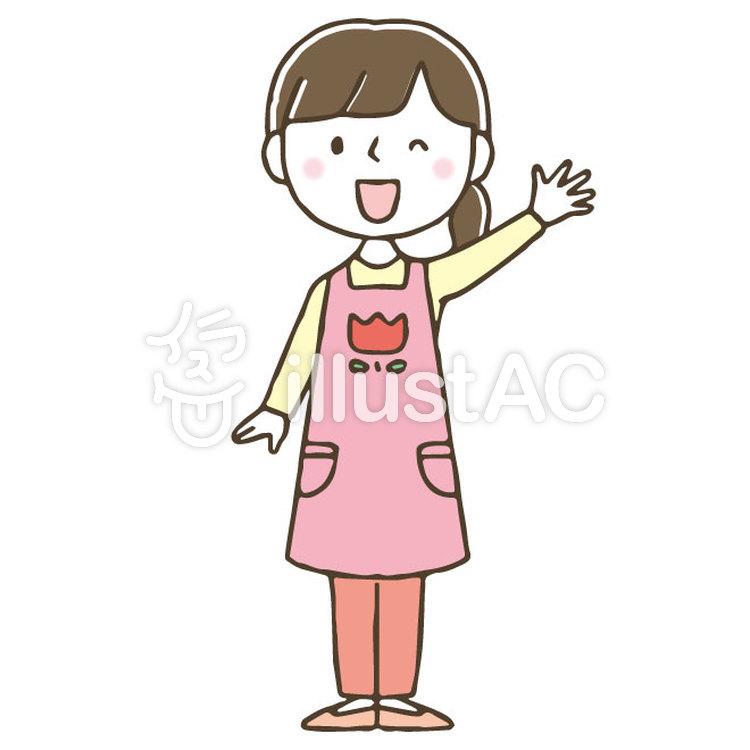 かわいい手描きの女性保育士 全身イラスト No 無料イラストなら イラストac