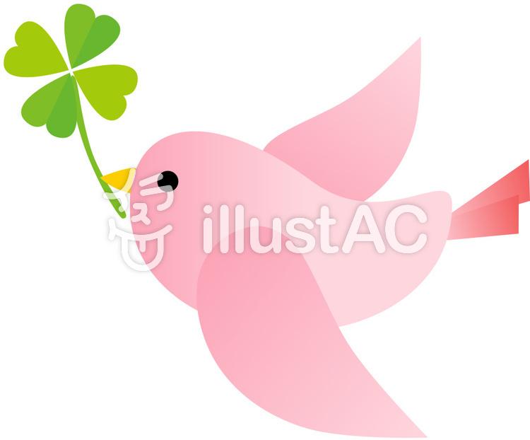 ピンクの鳥 クローバーイラスト No 164139無料イラストなら