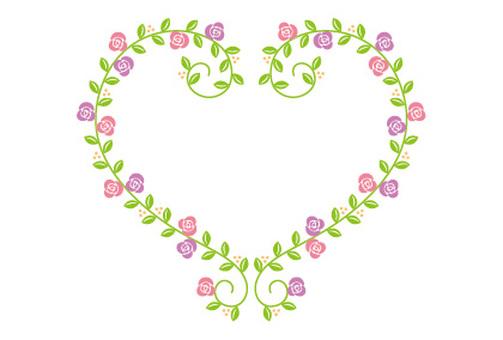 Heart leaves frame pink