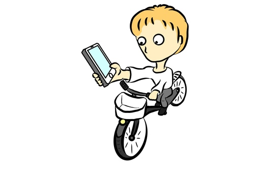 Mobile phone on board a bicycle