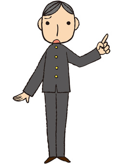 Male student (troubled · pointing)