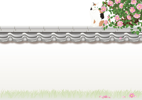 Tile wall _ mountain tea flower_ tricolored cat