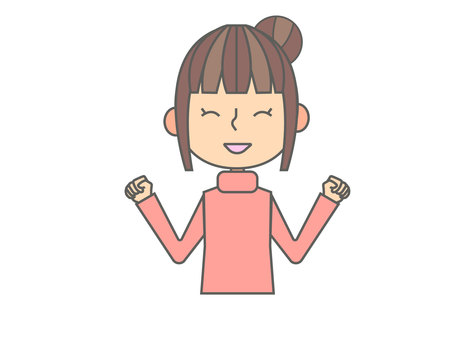Illustration of a turtleneck woman rejoicing