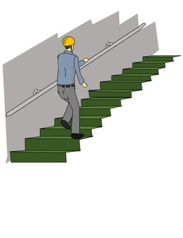 A worker climbing the stairs with a handrail