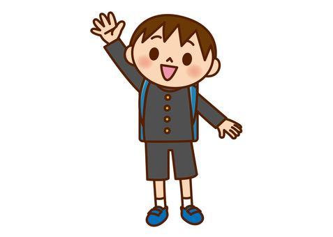 男孩舉手(學生穿)