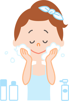 Women who are washing their skin Skin Care