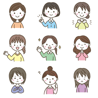 Hand-painted cute woman illustration set