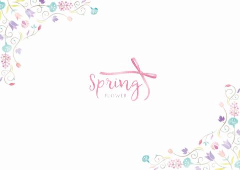 Spring background frame 019 Flower watercolor