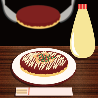 Image of okonomiyaki baked with iron plate