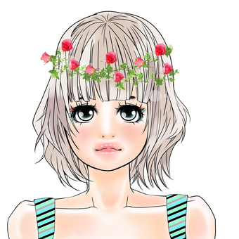 Flower-decorated girl