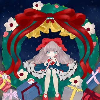 Girl with christmas wreath and gifts
