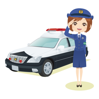Female police officer & police car