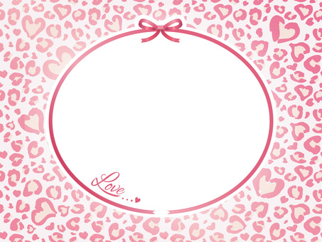 Heart's leopard pattern and ribbon card 01
