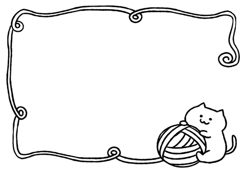 Cat and yarn _ monochrome