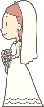 Bride dress - stands left side - whole body