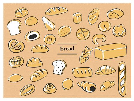 Hand-painted bread black line 2 color color
