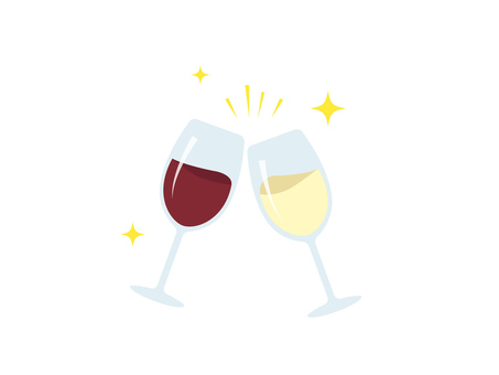 Cheers with wineglass _ red and white