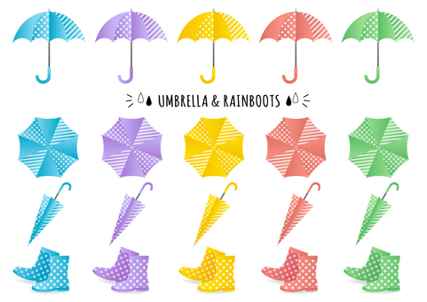 Umbrella and rain boots material