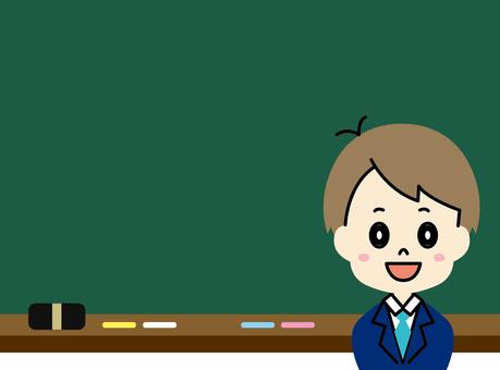男学生と黒板