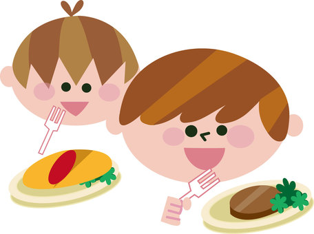 Illustration of school lunches