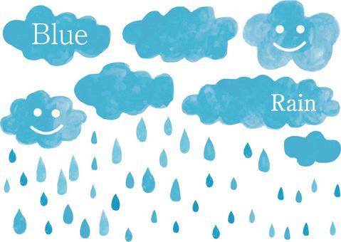 Water color blue rain cloud blue watercolor