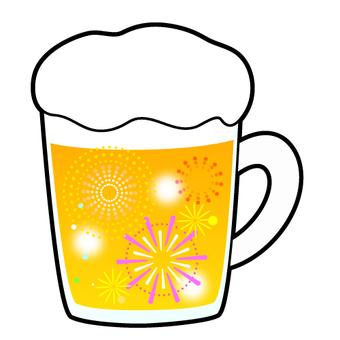 맥주에 불꽃의 일러스트