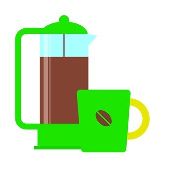 Coffee press and cup