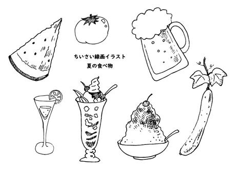 Line drawing illustration summer food