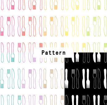 ナイフ&フォークパターン(手描き風)9色