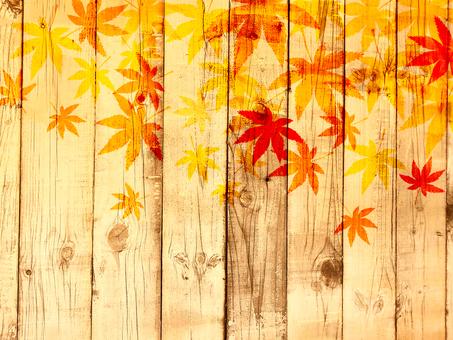 Wood grain autumn leaves background 160827