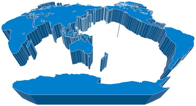 Winkel projection world map-3D diagonal