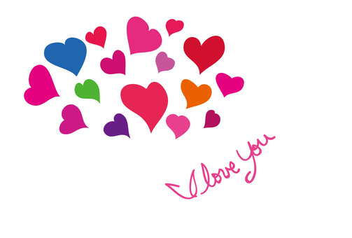 Heart's I love you message