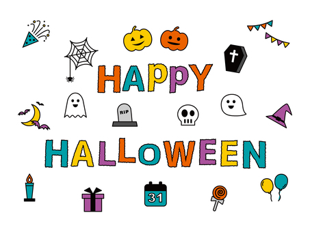 Halloween icon set colorful