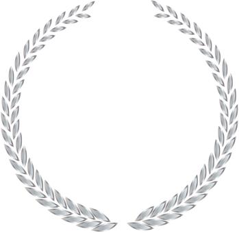 Metallic laurel frame silver