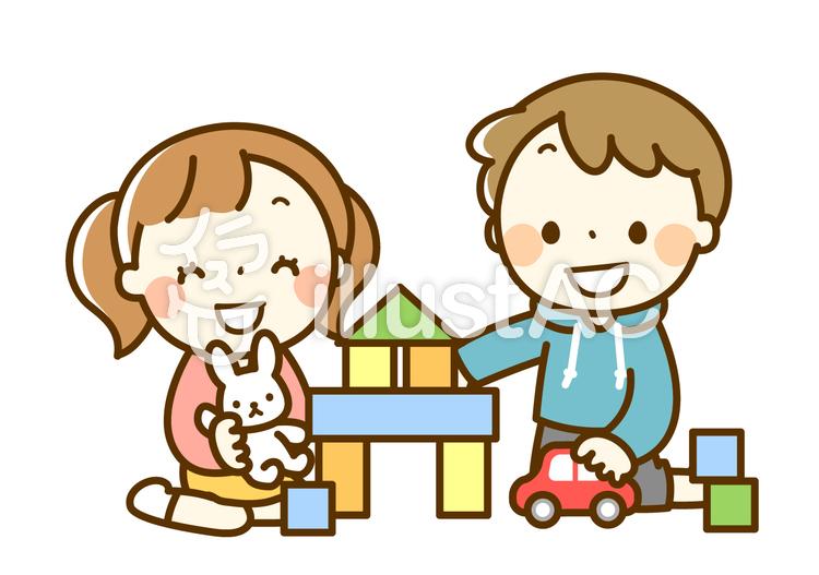 室内で一緒に遊ぶ男の子と女の子のイラスト