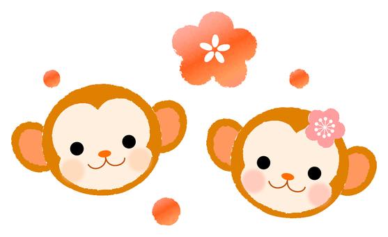 日本風格的猴子插圖