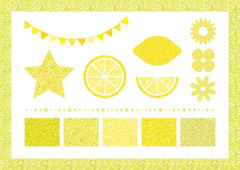 Yellow glitter set