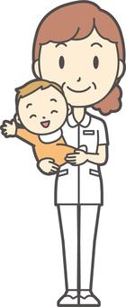 Middle-aged female nurse white coat-352-whole body
