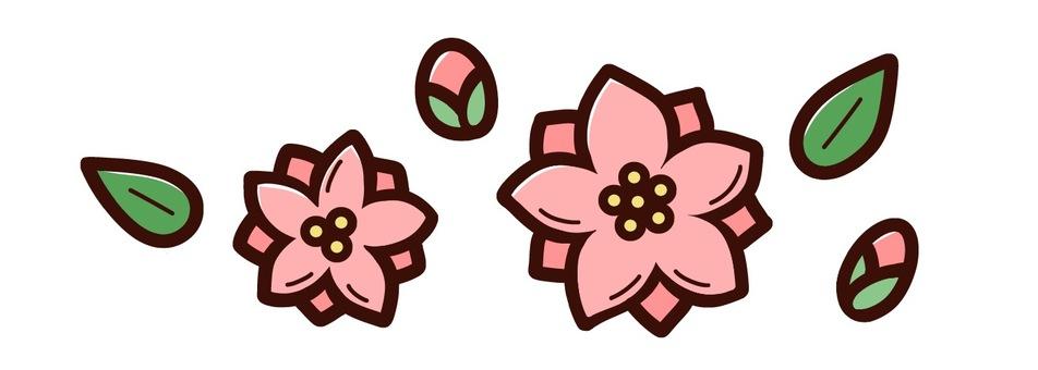 복숭아 꽃 라인 장식