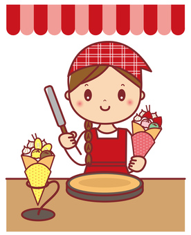Crepe shop clerk female upper body