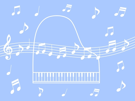 Piano and musical notes
