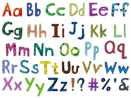 Alphabet set of paint texture