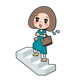 Green dress young woman stairs